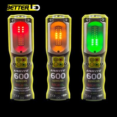 UNILITE 600 lumen munkalámpa, usb töltés, piros sárga zöld fény is, forgalomirányító LED lámpa
